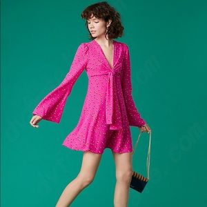 DVF tie front mini dress in rose bud pink P (xs)